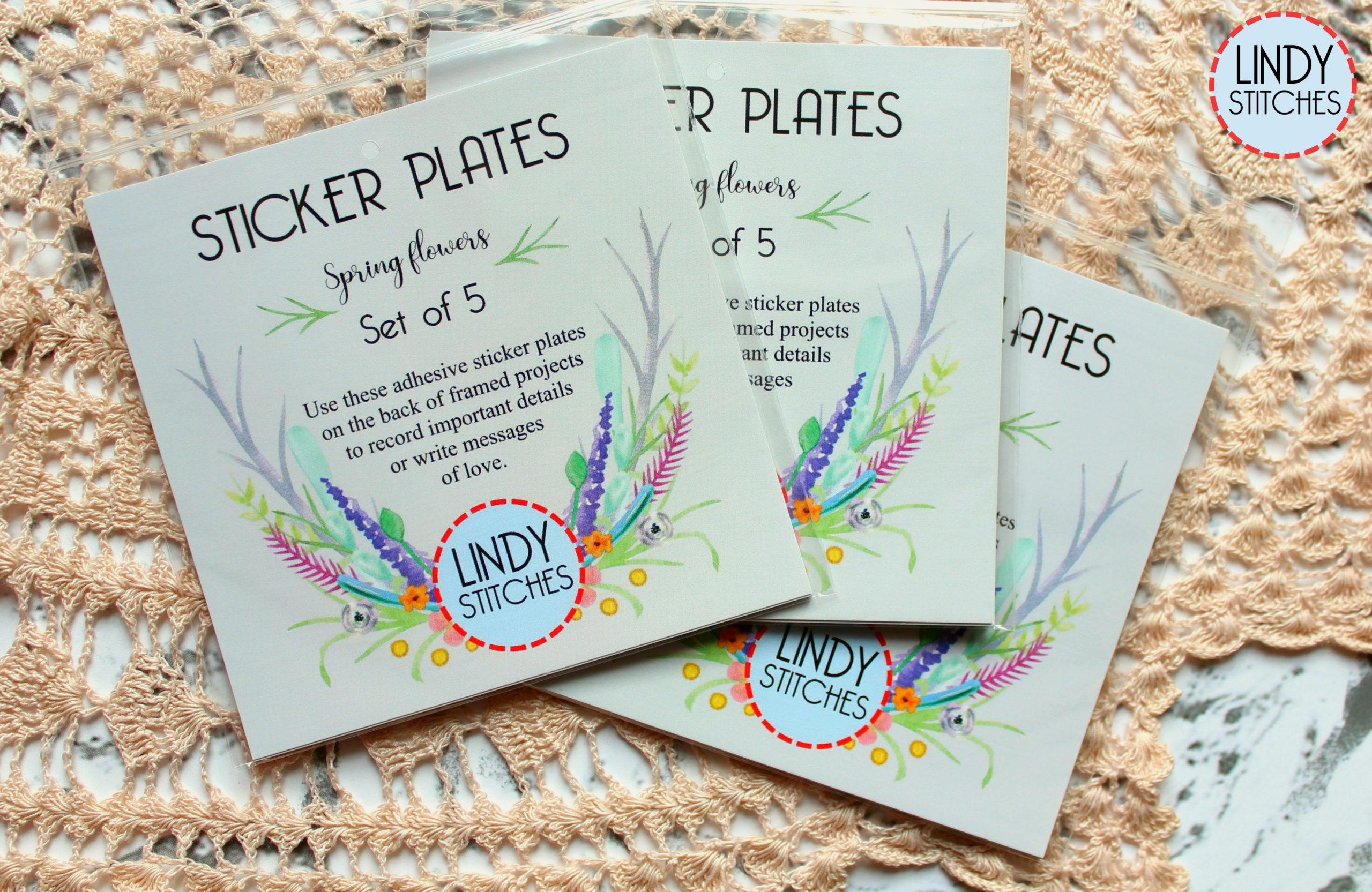 Spring Flowers Sticker Plates - Lindy Stitches